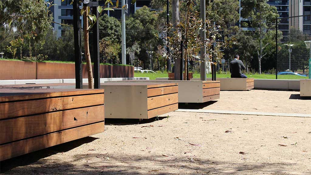 Commercial projects urban spaces recycled timber wood outdoor indoor external internal design cladding flooring boardroom table desk seating bench shelving battens melbourne australia timber revival MALA studio