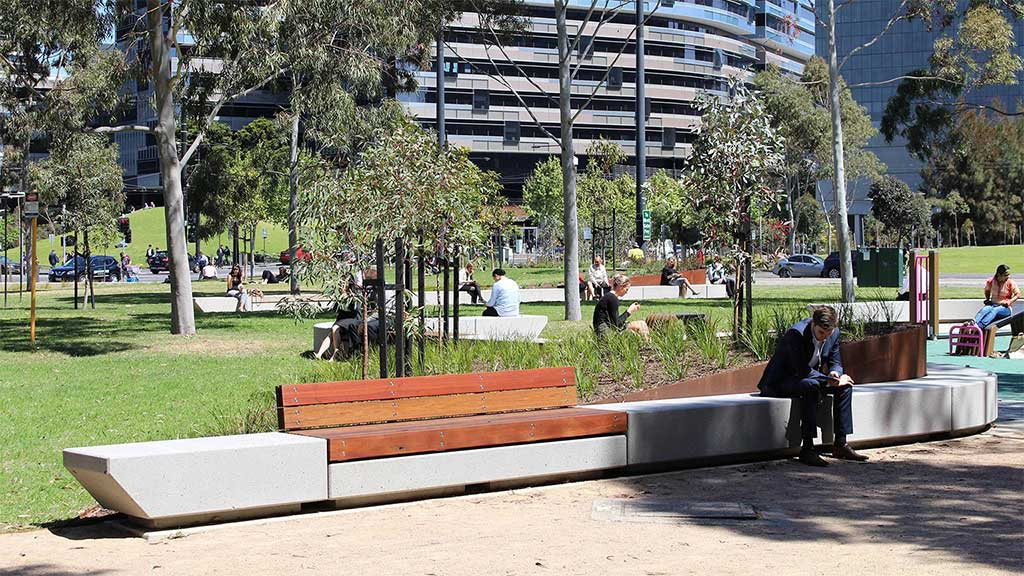 Commercial projects urban spaces recycled timber wood outdoor indoor external internal design cladding flooring boardroom table desk seating bench shelving battens melbourne australia timber revival