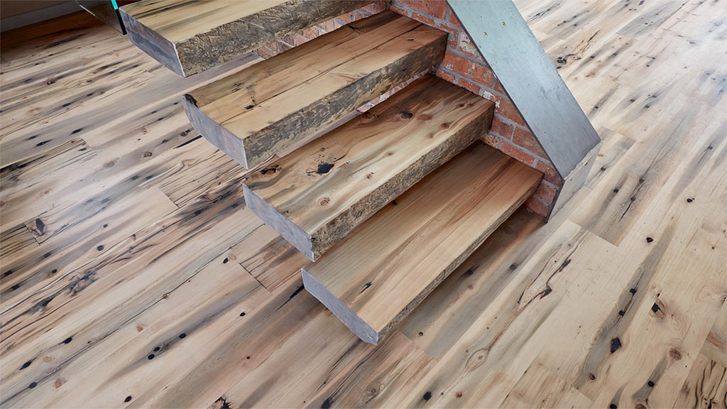 Recycled Celery-top Pine sleepers turned into flooring and stair treads