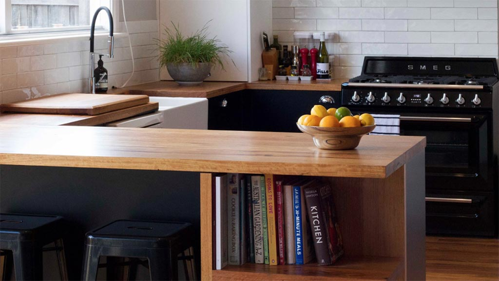 Recycled timber bench top with in-built shelving