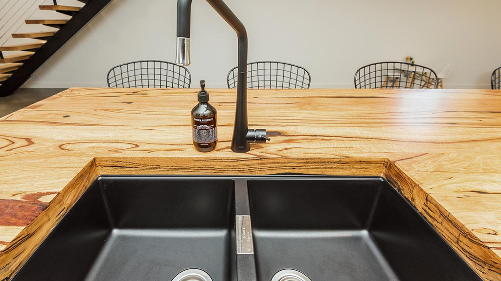 Recycled Messmate blend bench top with under-mount sink