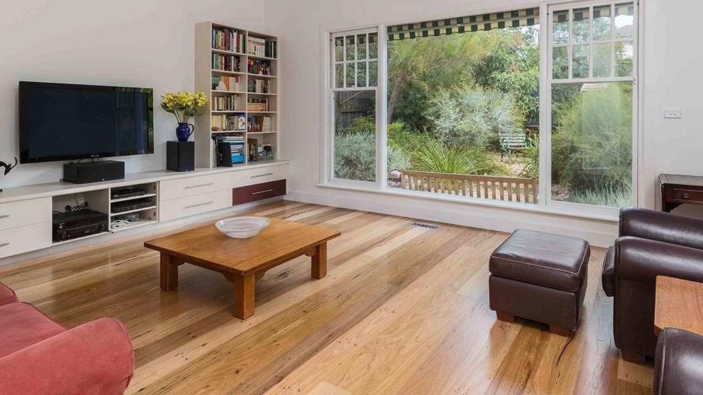 Recycled timber flooring for Glen Iris renovation