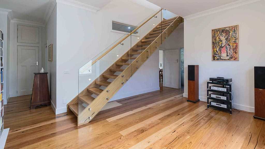 Recycled timber flooring and stair treads for Glen Iris renovation