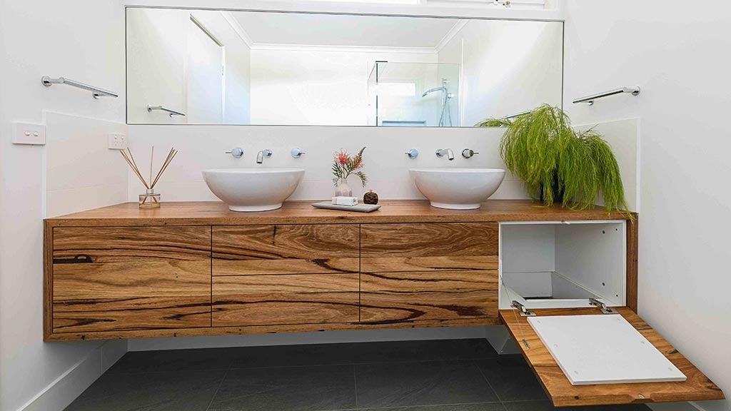Recycled timber vanity for Glen Iris renovation