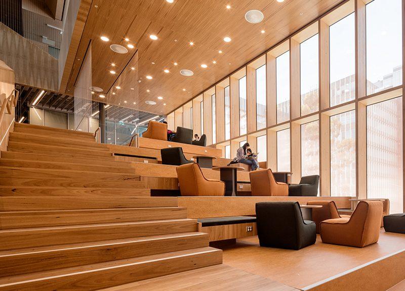 blackbutt timber flooring, treads and handrails